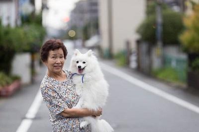 愛犬を抱っこする女性 05-11-02
